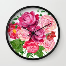 Red roses in a bouquet Wall Clock