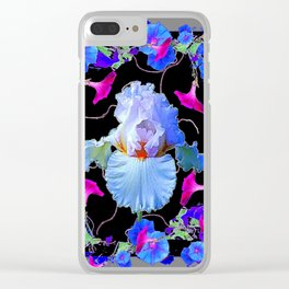 BLUE MORNING GLORIES & WHITE IRIS  SPRING  GARDEN ART Clear iPhone Case