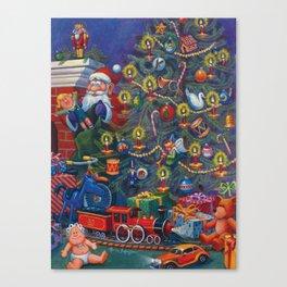 Santa Putting Presents Under The Tree Canvas Print