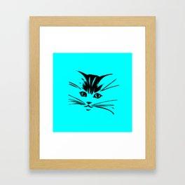 Aqua Kitty Cat Face Framed Art Print