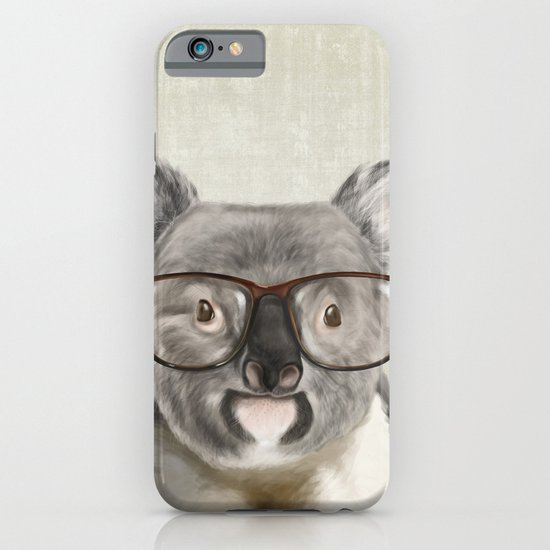 A baby koala with glasses on a rustic background iPhone & iPod Case