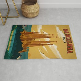 Vintage Barcelona, Spain Travel Lithographic Poster Advertisement Rug