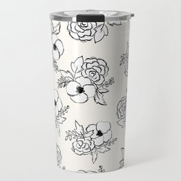 """Praise in the Darkness"" Black & White Floral Travel Mug"