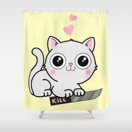 Kitty Hearts Kill - Cats Love Plotting Shower Curtain