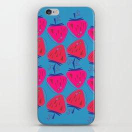 Design strawberries pink on blue iPhone Skin