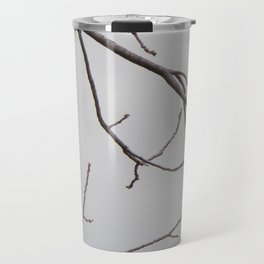 Cold Grey Sky Behind Leafless Tree Branches Travel Mug