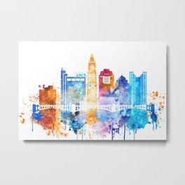 Colombus Watercolor Skyline Metal Print