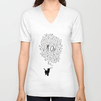 meow V-neck T-shirts featuring MEOW by Charlene McCoy