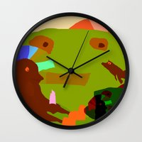 childish gambino Wall Clocks featuring CHILDISH MOMENT by Duan Riley