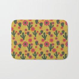 Cactus Flower Print Bath Mat