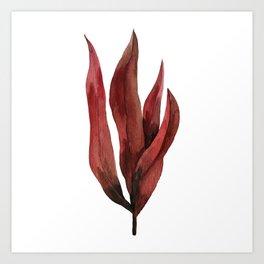 Red Tropical Leaves Art Print