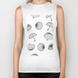 seamless rainy pattern with umbrellas and raindrops Biker Tank
