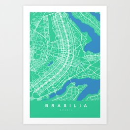 BRASILIA Map Brasil | Green | More Colors, Review My Collections Art Print