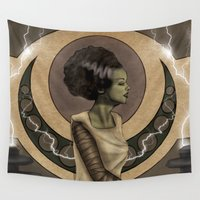 frankenstein Wall Tapestries featuring Bride of Frankenstein Nouveau by Hallowette
