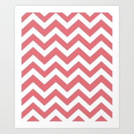 Candy pink - pink color - Zigzag Chevron Pattern Art Print