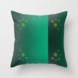 green pattern, shiny stars christmas pattern Throw Pillow