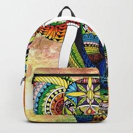 Rainbow Elephant Yellow Background Backpack