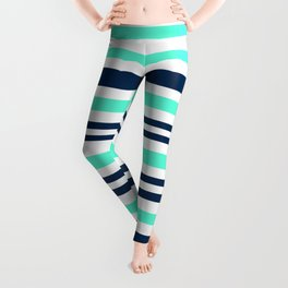 Beautiful Striped , blue , turquoise , white Leggings