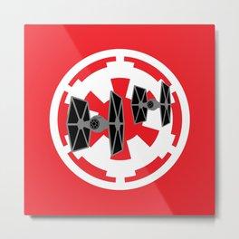 Star Wars Tie Fighters and Imperial Cog Metal Print