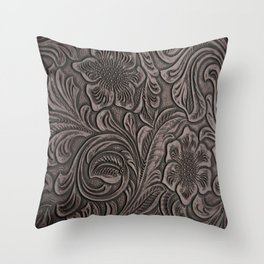 Distressed Smoky Tooled Leather Throw Pillow