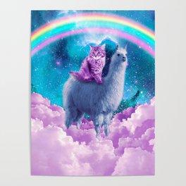Rainbow Llama - Cat Llama Poster
