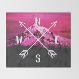 Pink Mountain Compass Throw Blanket
