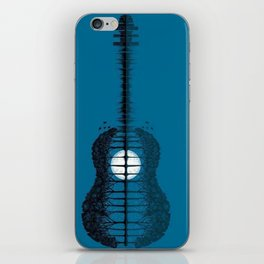 Trees sea and the moon turned guitar iPhone Skin