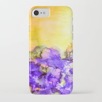 jazzberry iPhone & iPod Cases featuring INTO ETERNITY, YELLOW AND LAVENDER PURPLE Colorful Watercolor Painting Abstract Art Floral Landscape by EbiEmporium