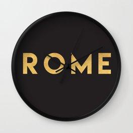 ROME ITALY GOLD CITY TYPOGRAPHY Wall Clock