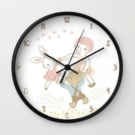 Bunny, bear and a girl playing in the field Wall Clock