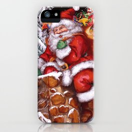 Santa Claus coming down Chimney iPhone Case