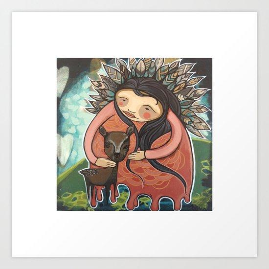 Dear Mother Deer Mother Art Print
