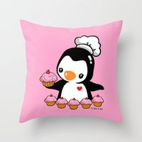 cooking Throw Pillows featuring Cooking Penguin by joanfriends