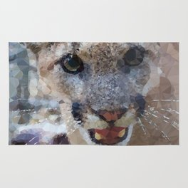 Young Male Mountain Lion Low Poly Geometric Triangles Rug