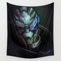 mass effect Wall Tapestries featuring Mass Effect: Garrus Vakarian by Ruthie Hammerschlag
