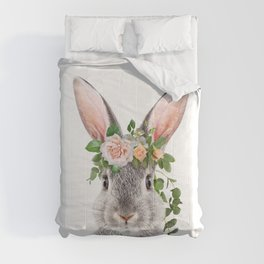 Baby Rabbit, Bunny With Flower Crown, Baby Animals Art Print By Synplus Comforters