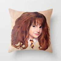 hermione Throw Pillows featuring Hermione by Shannon Forringer