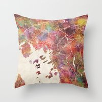 oslo Throw Pillows featuring Oslo by MapMapMaps.Watercolors