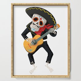 Sugar Skull Skeleton With Sombrero Playing the Guitar Day of the Dead Serving Tray