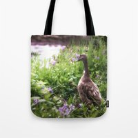 duck Tote Bags featuring Duck by Terri Ellis
