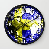 sweden Wall Clocks featuring football Sweden  by seb mcnulty