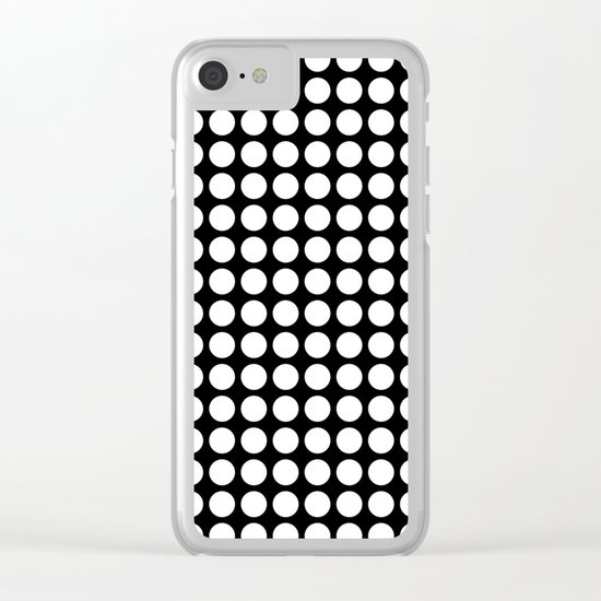 Black and white polka dot pattern . Clear iPhone Case