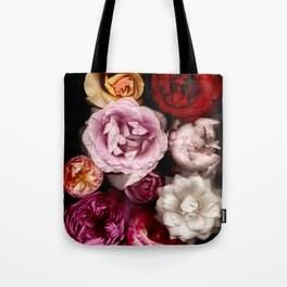 Red, White, Yellow, and Pink Roses Tote Bag