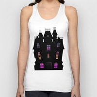 haunted mansion Tank Tops featuring Haunted Silhouette Rainbow Mansion by rainbowdreams