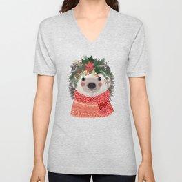 Hedgehog with Christmas Flowers Unisex V-Neck