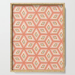 Living Coral Tilted Cubes Pattern Serving Tray