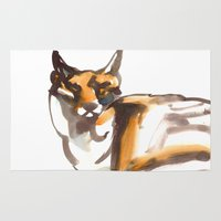 mr fox Area & Throw Rugs featuring Mr Fox by Ryan Hodge Illustration