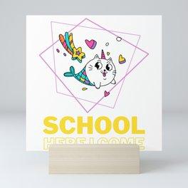 Cats Mermaid Unicorn Comes To School Mini Art Print