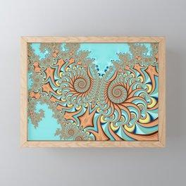Owl Fractal Turquoise and Orange Framed Mini Art Print