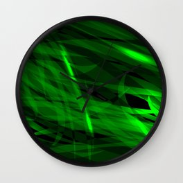 Saturated green and smooth sparkling lines of grass tapes on the theme of space and abstraction. Wall Clock
